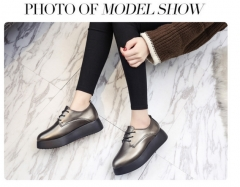 New Europe lace up shoes retro pointed bottom slope with thick shoes Metallic 35