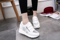 The new spring and summer at the end of high zipper decorative mesh breathable hollow sports shoes white 35