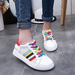 Casual rainbow white shoes female lace lace mesh yarn color sports shoes flat shoes red 35