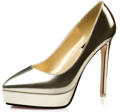 Fine with water table patent leather sexy women's shoes pointed shallow mouth high heels golden 34