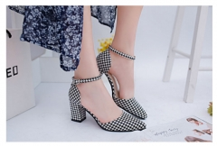 The New Sexy Heels word buckle rivet shoes  Club shoes black+white 35