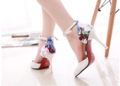 The new  sexy thin elegant with floral pointed high heels shoes white 34