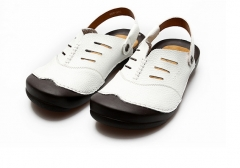 Summer cool sandals men's beach shoes leather sandals white 39