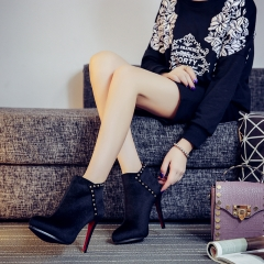 Fashion professional black female high heels fine suede sexy shoes black 34