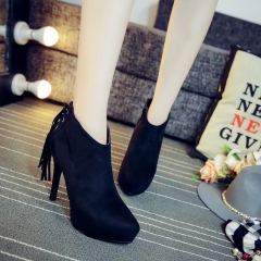Fashion pointed short paragraph female boots waterproof Taiwan Martin boots black 34