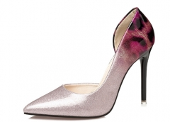 Fashion pointed to fight high-heeled shoes nightclub sexy side empty shoes with fine shoes pink 34