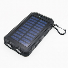New Portable Solar Power Bank External Battery Dual USB Ports Powerbank Charger Mobile Charger black 140*75*15mm