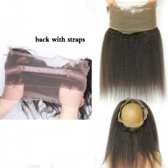 Factory price remy human hair with baby hair Indian kinky straight frontal 360 lace closure 14 inch