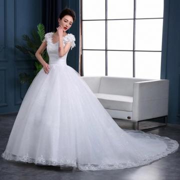 Robe de mariage Princess Long Wedding Dress Ball Gown Chapel Train Appliques Tulle Wedding Dresses white m