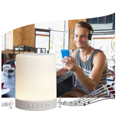 Multifuntional - Handsfree Bluetooth Speaker With 7 Changing Colors Smart Touch Sensor led light White portable