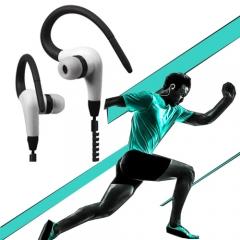 NFXSL-Zipper Stereo Earphone 3.5mm Ear Hook Earbuds Super Bass Headphone With Mic black