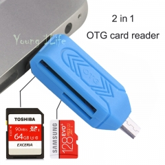 2 In 1 Dual Universal Card Reader-Micro USB Flash OTG TF / SD memory For Phone Computer blue OTG 1 pcs