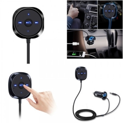 Bluetooth Car Kit-Car MP3 Player-3.5mm AUX Audio Adapter Magnetic Base with USB Charger black universal