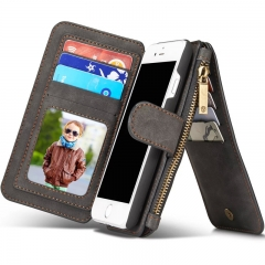 For Samsung /Iphone - Genuine Leather Multi Functional Wallet Phone Cover black iphone 5SE