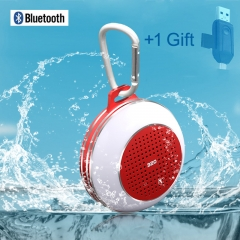 Super Bass Waterproof Bluetoth Speaker-Subwoofer Fm Radio TF Card Usb Cable red portable