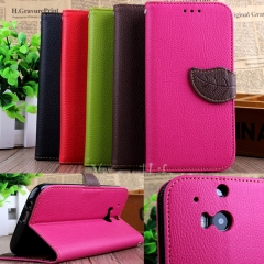 For HTC M8-Luxury Magnetic Leaf Phone Cover-Stand Function+Card Holder+Wallet Flip black pu leather