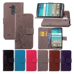For LG G3-Four Leaf Clover Leather Phone Cover-Stand Function+Card Holder+Cash Slot black pu leather