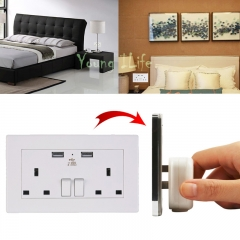 Universal Wall Socket-Dual USB Plug Switch Power Supply Plate 1000mA Electric Socket Outlet Adapter