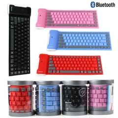 Foldable Bluetooth Keyboard-USB Silicone Rubber Waterproof Flexible Keyboard For PC IOS Android iPad black portable