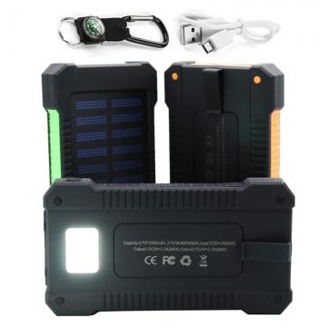 Portable Solar Power Bank 2 USB Solar Panel Mobile Charger for Smartphone blue 20000mah