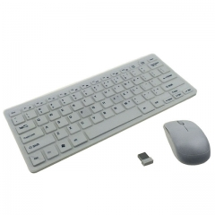 2.4GHZ Wireless Mini Keyboard and Mouse Set for PC, Laptop(White)