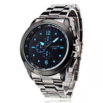 Men's Business Style Silver Alloy Quartz Wrist Watch black