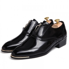 British Style High Quality Carved Patent Leather Flat Heels Color Matching Lace-Up black 38