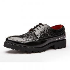 Brogue Shoes Platform Men Oxfords British Style Creepers Cut-Outs Flat Casual Luxury Burgundy black 38