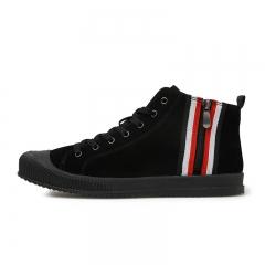 Mens Casual Shoes High Top Shoes Flats Man Canvas Shoes Male black 39