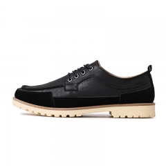 Design Men's Casual Leather Oxfords Brogue Wing Tip Lace Up Pointed Toe black 39