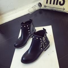 Platform Rain Boots Ladies Rubber Ankle Boots Low Heels Women Boots Slip On Flats Shoes Woman Plus black 35
