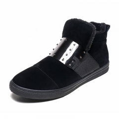 Men Outdoor Snow Boots Winter Shoes Warm Fashion Glitter Metal Hair Ankle Plus Size Fuzzy Work black 39