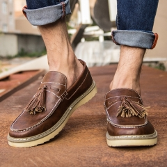 Men Genuine Leather Tassels Loafers Oxfords Style Brogues Platform Shoes Luxury Casual Flats brown 39