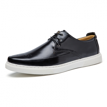 Fashion Male Grain Pointed Toe Genuine Leather Lacing Business Formal Shoes Oxford Derby Shoes Men black 42