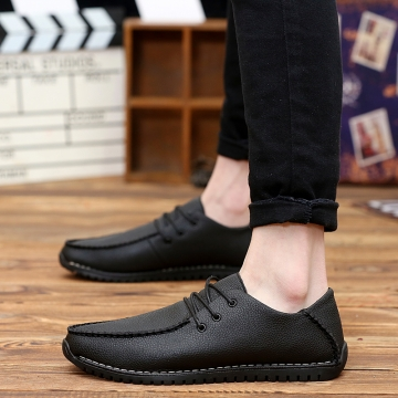 Fashion Suede Men Loafers, High Quality Men Driving Shoes, Slip On Leather Men Moccasin black 44
