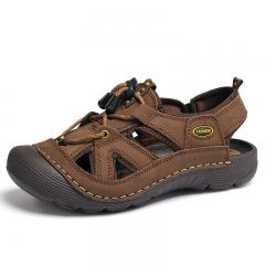 Men Sandals Casual Leather Sandals Men Summer Shoes Breathable brown 39