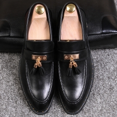 Tessel Decorate Male Genuine Leather Shoes Formal Men Wedding Dating Shoes Brown black 38