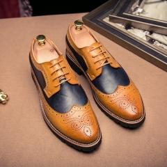 Vintage Brogue Male Shoes Carve Flower Yuppie Men Shoes Wedding Shoes brown 38