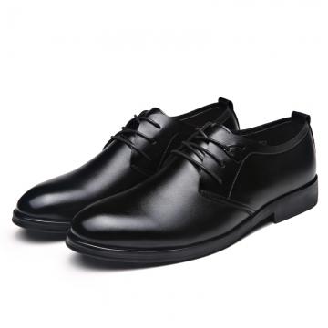 Business Men's Basic Flat Leather Gentle Wedding Dress Shoes Luxury Brand Formal Wearing British black 41