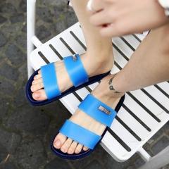 2017 Men Summer Candy Color Slides Sandals Slippers Beach Flip Flops Sapatos Hombres Mens Water Flip blue 40