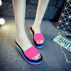 Women Sandals Platform Rainbow Non-Slip Thick Soled Female Wedge Women Slippers Summer pink 36