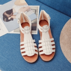 2017 Brand Shoes Summer Sexy Women Comfortable Low Heels Leather Sandals Woman white 35