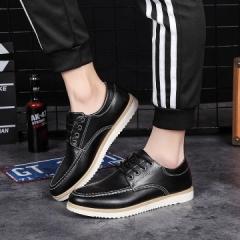 2017 Fashion Brand Men's Business Wedding High Quality Genuine Leather  Round Toe Oxfords black 39