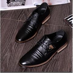 Men shoes elevator leather men genuine leather shoes formal business groom wedding shoes men flats black 39