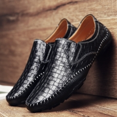 Leather Luxury Brand Men Casual Shoes Driving Soft Comfy Formal Business Shoes High Quality black 39