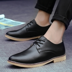 Pointed Toe British Style Men Dress Shoes Genuine Leather Men Wingtip Shoes High Quality black 39
