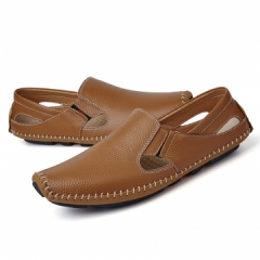 Big Size Summer Men Driving Shoes Genuine Leather Good Quality Soft Men Loafers Comfortable brown 39
