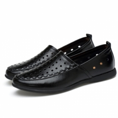 2017 New Summer Men Loafers Genuine Leather Plus Size Men Driving Shoes Big Size 45 46 47 black 39