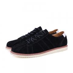 Mens Superstar Shoes Split Leather Men's Flats Handmade Mens Loafers Fashion Designer Lace Up black 39