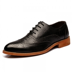Genuine Leather Mens Brogue Shoes Walking Men Dress Lace Up Office Shoes black 39
